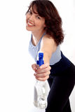 Housewife with cleaning bottle. On white background Royalty Free Stock Image