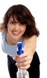 Housewife with cleaning bottle on white backround. Housewife with cleaning bottle on white background, close up Stock Image