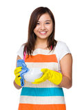 Housewife cleaning of the bowl Royalty Free Stock Images