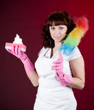 Housewife cleaning dishes Stock Image