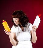 housewife cleaning dishes Royalty Free Stock Images