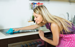 Housewife cleaning electric panel Royalty Free Stock Images
