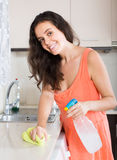 Housewife cleaning furniture in kitchen Stock Images