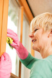 Housewife cleaning her windows in rubber gloves Stock Images