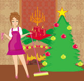 Housewife cleaning house before Christmas Stock Photo
