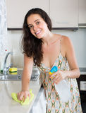 Housewife cleaning kitchen Stock Images