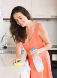 Housewife cleaning kitchen Stock Photo
