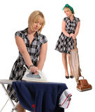 Housewife cleaning & pressing Stock Photography