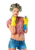 Housewife with cleaning product Stock Image