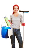 Housewife with cleaning products Stock Image