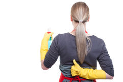 Housewife cleaning and showing thumb up Stock Images