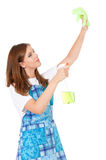 Housewife with cleaning spray Royalty Free Stock Photography