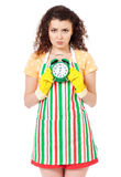 Housewife with cleaning supplies Royalty Free Stock Photo