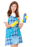 Housewife with cleaning supplies Royalty Free Stock Photography