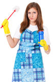 Housewife with cleaning supplies Stock Photo