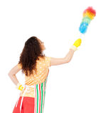 Housewife with cleaning supplies Royalty Free Stock Image