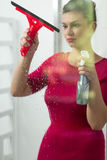 Housewife cleaning window Royalty Free Stock Photos