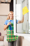 Housewife cleaning window Royalty Free Stock Photography