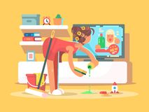 Housewife cleans house Stock Photos
