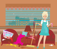 Housewife cleans up the mess Royalty Free Stock Images