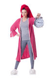Housewife with clock Stock Image