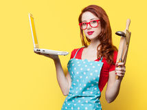 Housewife with computer and plunger Stock Images