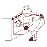 The Housewife. Cook a duck in the oven Royalty Free Stock Photos