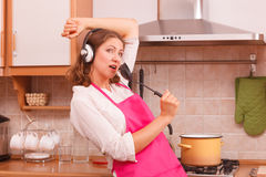 Housewife cook in kitchen Royalty Free Stock Photography