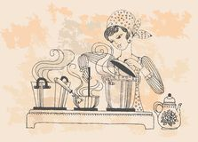 Housewife cook and taste, vector in retro style Stock Photography