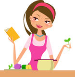Housewife-cooking vector illustration