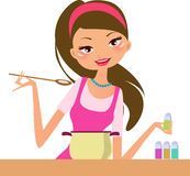 Housewife-cooking royalty free illustration