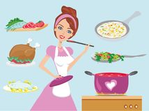 Housewife cooking dinner. Vector Illustration Royalty Free Stock Image