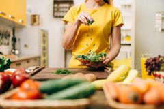 Housewife cooking, eco food preparation. Housewife cooking on the kitchen, healthy eco food preparation. Vegetarian diet, fresh vegetables and fruits on wooden stock image