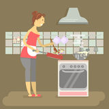 Housewife is cooking. On kitchen background interior. Concept in flat style vector illustration Stock Photography