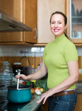 Housewife cooking at kitchen Stock Photography