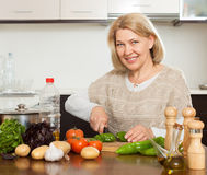 Housewife cooking  lunch with veggy Stock Photos