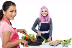 Housewife cooking Royalty Free Stock Images