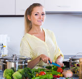 Housewife cooking vegetables at domestic kitchen Royalty Free Stock Image