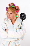 Housewife with curlers and skimmer Royalty Free Stock Images