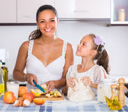 Housewife with daughter cooking apple pie Royalty Free Stock Image