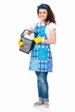 Housewife with discarded paper Royalty Free Stock Photography