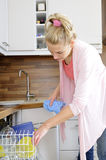 Housewife at the dishwasher Stock Photos