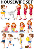Housewife doing different activities Royalty Free Stock Photo