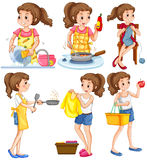 Housewife doing different chores Royalty Free Stock Images