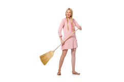 Housewife doing home cleaning on white Stock Photos