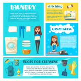 Housewife doing household chores banner template Stock Photo