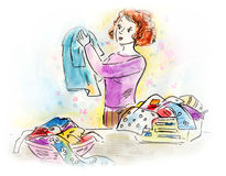 Housewife doing laundry. Illustration of a woman doing laundry. Made with ink, watercolor and colored pencils Stock Photos