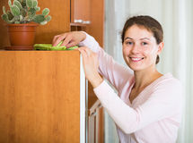 Housewife doing regular clean up in living room Royalty Free Stock Photography