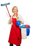 Housewife doing spring cleaning Royalty Free Stock Images