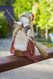 Housewife. Doll. Housewife. Woman with besom. Handmade doll Stock Photo
